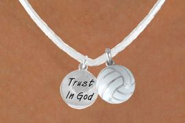 """<BR>            """"EXCLUSIVELY OURS""""<bR>        AN ALLAN ROBIN DESIGN<Br>         LEAD & NICKEL FREE!!<Br>W13959N - """"TRUST IN GOD"""" & <br>WHITE VOLLEYBALL NECKLACE<br>              AS LOW AS $4.50"""