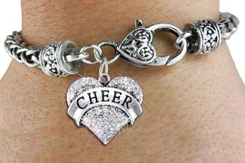 "<bR>            EXCLUSIVELY OURS!! <BR>       AN ALLAN ROBIN DESIGN!! <BR>          LEAD & NICKEL FREE!! <BR> W1408SB - SILVER TONE ""CHEER"" <BR>  CLEAR CRYSTAL HEART CHARM ON <BR>  HEART LOBSTER CLASP BRACELET <Br>                $9.38 EACH   �2013"