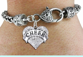 """<bR>            EXCLUSIVELY OURS!! <BR>       AN ALLAN ROBIN DESIGN!! <BR>          LEAD & NICKEL FREE!! <BR> W1408SB - SILVER TONE """"CHEER"""" <BR>  CLEAR CRYSTAL HEART CHARM ON <BR>  HEART LOBSTER CLASP BRACELET <Br>                $9.38 EACH   �2013"""