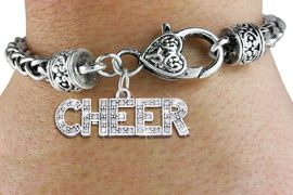 """<BR> FABULOUS CHEER WHEAT CHAIN BRACELET<bR>                    EXCLUSIVELY OURS!! <BR>               AN ALLAN ROBIN DESIGN!! <BR>                  LEAD & NICKEL FREE! <BR>             W1410B1 - SILVER TONE AND <BR>         CRYSTAL """"CHEER"""" WORD CHARM ON <BR>          HEART LOBSTER CLASP BRACELET <Br>                         $10.38 EACH �2013"""
