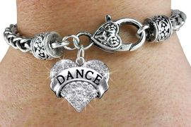"<bR>             EXCLUSIVELY OURS!! <BR>        AN ALLAN ROBIN DESIGN!! <BR>  LEAD, CADMIUM, & NICKEL FREE!! <BR>  W1414SB - SILVER TONE ""DANCE"" <BR>   CLEAR CRYSTAL HEART CHARM ON <BR>   HEART LOBSTER CLASP BRACELET <Br>                 $10.38 EACH  �2013"