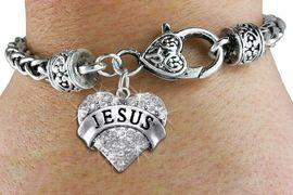 "<bR>             EXCLUSIVELY OURS!! <BR>        AN ALLAN ROBIN DESIGN!! <BR>           LEAD & NICKEL FREE!! <BR>  W1419SB - SILVER TONE ""JESUS"" <BR>   CLEAR CRYSTAL HEART CHARM ON <BR>   HEART LOBSTER CLASP BRACELET <Br>     FROM $5.63 TO $12.50 �2013"