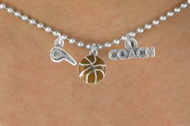 "<BR>           ""EXCLUSIVELY OURS""<bR>        AN ALLAN ROBIN DESIGN<Br>           LEAD & NICKEL FREE!!<Br>W14264N - BASKETBALL COACH<Br>   & WHISTLE CHARM NECKLACE<br>                AS LOW AS $4.16"