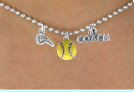 """<BR>         """"EXCLUSIVELY OURS""""<bR>     AN ALLAN ROBIN DESIGN<Br>         LEAD & NICKEL FREE!!<Br>W14266N - SOFTBALL COACH<Br>& WHISTLE CHARM NECKLACE<br>              AS LOW AS $4.16"""