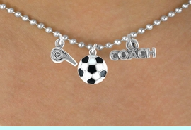 """<BR>        """"EXCLUSIVELY OURS""""<bR>    AN ALLAN ROBIN DESIGN<Br>       LEAD & NICKEL FREE!!<Br>W14267N - SOCCER COACH &<Br> WHISTLE CHARM NECKLACE<br>             AS LOW AS $4.16"""