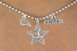 "<BR>            ""EXCLUSIVELY OURS""<bR>        AN ALLAN ROBIN DESIGN<Br>            LEAD & NICKEL FREE!!<Br>W14268N - GYMNASTICS COACH<Br>   & WHISTLE CHARM NECKLACE<br>                 AS LOW AS $4.16"
