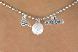 """<BR>           """"EXCLUSIVELY OURS""""<bR>        AN ALLAN ROBIN DESIGN<Br>           LEAD & NICKEL FREE!!<Br>W14269N - VOLLEYBALL COACH<Br>   & WHISTLE CHARM NECKLACE<br>                AS LOW AS $4.16"""