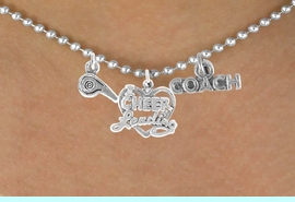 """<BR>           """"EXCLUSIVELY OURS""""<bR>       AN ALLAN ROBIN DESIGN<Br>           LEAD & NICKEL FREE!!<Br>W14331N - CHEERLEADER COACH<Br>   & WHISTLE CHARM NECKLACE<br>             FROM $4.16 TO $9.25"""
