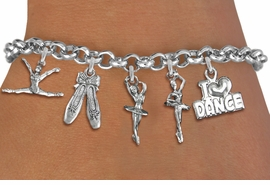 <Br>        EXCLUSIVELY OURS!! <Br>  AN ALLAN ROBIN DESIGN!! <Br>       LEAD & NICKEL FREE!! <Br>W14354B - DANCE THEME <BR>   FIVE CHARM BRACELET <br>       AS LOW AS $8.61