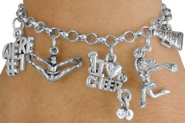<Br>                EXCLUSIVELY OURS!!<Br>          AN ALLAN ROBIN DESIGN!!<Br>               LEAD & NICKEL FREE!!<Br>      W14356B - CHEER THEME FIVE<BR>CHARM BRACELET FROM $8.61 TO $12.50