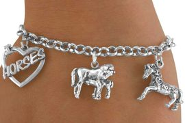 <Br>               EXCLUSIVELY OURS!!<Br>         AN ALLAN ROBIN DESIGN!!<Br>              LEAD & NICKEL FREE!!<Br>     W14358B - HORSE THEME FIVE<BR>CHARM BRACELET FROM $7.31 TO $16.25