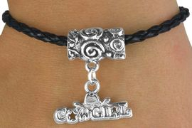 """<bR>                    EXCLUSIVELY OURS!!<Br>              AN ALLAN ROBIN DESIGN!!<Br>                   LEAD & NICKEL FREE!!<BR>W14653B - BLACK BRAIDED """"COWGIRL""""<Br> TOGGLE BRACELET FROM $3.94 TO $8.75"""