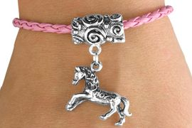 """<bR>                 EXCLUSIVELY OURS!!<Br>           AN ALLAN ROBIN DESIGN!!<Br>                LEAD & NICKEL FREE!!<Br>W14654B - """"I LOVE HORSES"""" HORSE<Br> & PINK BRAIDED TOGGLE BRACELET<Br>               FROM $3.94 TO $8.75"""