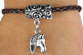 <bR>                 EXCLUSIVELY OURS!!<Br>           AN ALLAN ROBIN DESIGN!!<Br>                LEAD & NICKEL FREE!!<Br>  W14655B - HORSE HEAD CHARM &<Br>BROWN BRAIDED TOGGLE BRACELET<Br>               FROM $3.94 TO $8.75