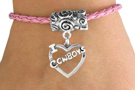 """<bR>                   EXCLUSIVELY OURS!!<Br>            AN ALLAN ROBIN DESIGN!!<Br>                  LEAD & NICKEL FREE!!<Br>W14657B - """"I LOVE COWBOYS"""" HEART<Br>  & PINK BRAIDED TOGGLE BRACELET<Br>                  FROM $3.94 TO $8.75"""
