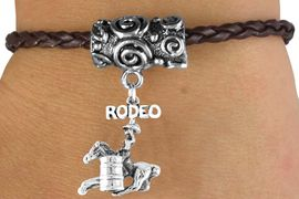 """<bR>                   EXCLUSIVELY OURS!!<Br>            AN ALLAN ROBIN DESIGN!!<Br>                 LEAD & NICKEL FREE!!<Br>W14658B - """"RODEO"""" BARREL RACER<Br>BROWN BRAIDED TOGGLE BRACELET<Br>               FROM $3.94 TO $7.50"""