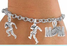 """<Br>          EXCLUSIVELY OURS!!<Br>     AN ALLAN ROBIN DESIGN!!<Br>         LEAD & NICKEL FREE!!<Br>W14739B - """"FOOTBALL MOM""""<Br>  5-CHARM CHAIN BRACELET<Br>        FROM $7.31 TO $16.25"""