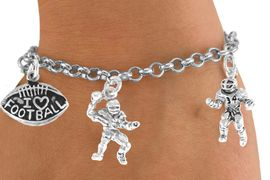 "<Br>           EXCLUSIVELY OURS!!<Br>     AN ALLAN ROBIN DESIGN!!<Br>          LEAD & NICKEL FREE!!<Br>W14740B - ""I LOVE FOOTBALL""<Br>    5-CHARM CHAIN BRACELET<Br>          FROM $7.31 TO $16.25"