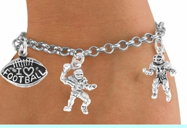 """<Br>           EXCLUSIVELY OURS!!<Br>     AN ALLAN ROBIN DESIGN!!<Br>          LEAD & NICKEL FREE!!<Br>W14740B - """"I LOVE FOOTBALL""""<Br>    5-CHARM CHAIN BRACELET<Br>          FROM $7.31 TO $16.25"""