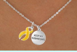 """<bR>                   EXCLUSIVELY OURS!!<Br>             AN ALLAN ROBIN DESIGN!!<BR>                  LEAD & NICKEL FREE!!<BR>W15830N - """"KEEP MY HUSBAND SAFE""""<Br>       & YELLOW AWARENESS RIBBON<Br>      NECKLACE FROM $4.85 TO $8.50"""