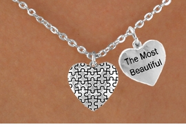 """<bR>                EXCLUSIVELY OURS!!<Br>          AN ALLAN ROBIN DESIGN!!<BR>               LEAD & NICKEL FREE!!<BR>W15981N - """"THE MOST BEAUTIFUL""""<Br>      & AUTISM AWARENESS HEART<Br>            NECKLACE &#169;2010 FROM<bR>                      $4.85 TO $8.50"""