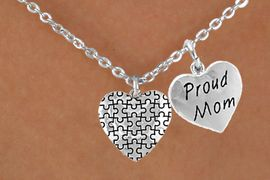 """<bR>               EXCLUSIVELY OURS!!<Br>        AN ALLAN ROBIN DESIGN!!<BR>             LEAD & NICKEL FREE!!<BR>    W15983N - """"PROUD MOM"""" &<Br>      AUTISM AWARENESS HEART<Br>          NECKLACE &#169;2010 FROM<bR>                    $4.85 TO $8.50"""
