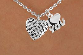 """<bR>             EXCLUSIVELY OURS!!<Br>       AN ALLAN ROBIN DESIGN!!<BR>            LEAD & NICKEL FREE!!<BR>     W15985N - """"I LOVE YOU"""" &<Br>     AUTISM AWARENESS HEART<Br>         NECKLACE &#169;2010 FROM<bR>                   $4.85 TO $8.50"""