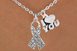 """<bR>             EXCLUSIVELY OURS!!<Br>       AN ALLAN ROBIN DESIGN!!<BR>            LEAD & NICKEL FREE!!<BR>     W15986N - """"I LOVE YOU"""" &<Br>   AUTISM AWARENESS RIBBON<Br>         NECKLACE &#169;2010 FROM<bR>                   $4.85 TO $8.50"""