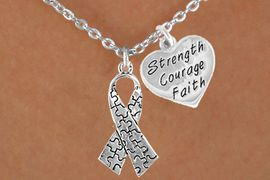 """<bR>              EXCLUSIVELY OURS!!<Br>        AN ALLAN ROBIN DESIGN!!<BR>             LEAD & NICKEL FREE!!<BR>W15988N - """"STRENGTH COURAGE<Br>   FAITH"""" & AUTISM AWARENESS<Br> RIBBON NECKLACE &#169;2010 FROM<bR>                     $4.85 TO $8.50"""