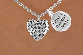 """<bR>             EXCLUSIVELY OURS!!<Br>       AN ALLAN ROBIN DESIGN!!<BR>            LEAD & NICKEL FREE!!<BR>W15989N - """"I HAVE A GUARDIAN<Br> ANGEL"""" & AUTISM AWARENESS<Br> HEART NECKLACE &#169;2010 FROM<bR>                   $4.85 TO $8.50"""