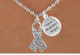 """<bR>             EXCLUSIVELY OURS!!<Br>       AN ALLAN ROBIN DESIGN!!<BR>            LEAD & NICKEL FREE!!<BR>W15990N - """"I HAVE A GUARDIAN<Br> ANGEL"""" & AUTISM AWARENESS<Br>RIBBON NECKLACE &#169;2010 FROM<bR>                   $4.85 TO $8.50"""