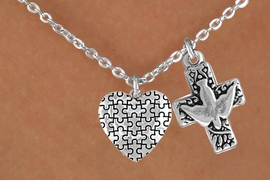 <bR>             EXCLUSIVELY OURS!!<Br>       AN ALLAN ROBIN DESIGN!!<BR>            LEAD & NICKEL FREE!!<BR>W16006N - DOVE & CROSS WITH<Br>      AUTISM AWARENESS HEART<Br>          NECKLACE &#169;2010 FROM<bR>                    $4.85 TO $8.50