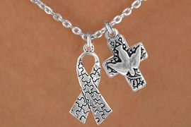 <bR>              EXCLUSIVELY OURS!!<Br>        AN ALLAN ROBIN DESIGN!!<BR>             LEAD & NICKEL FREE!!<BR>W16009N - DOVE & CROSS WITH<Br>     AUTISM AWARENESS RIBBON<Br>          NECKLACE &#169;2010 FROM<bR>                    $4.85 TO $8.50