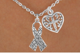 <bR>             EXCLUSIVELY OURS!!<Br>       AN ALLAN ROBIN DESIGN!!<BR>            LEAD & NICKEL FREE!!<BR>W16010N - HEART WITH CROSS &<Br>     AUTISM AWARENESS RIBBON<Br>          NECKLACE &#169;2010 FROM<bR>                    $4.85 TO $8.50