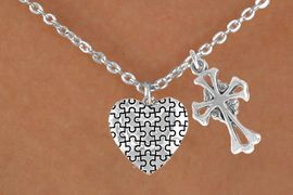 <bR>                EXCLUSIVELY OURS!!<Br>          AN ALLAN ROBIN DESIGN!!<BR>               LEAD & NICKEL FREE!!<BR>        W16012N - ELEGANT CROSS<Br>      & AUTISM AWARENESS HEART<Br>            NECKLACE &#169;2010 FROM<bR>                      $4.85 TO $8.50