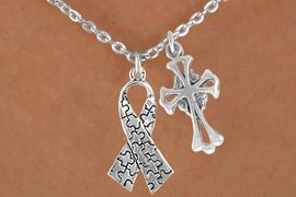 <bR>                EXCLUSIVELY OURS!!<Br>          AN ALLAN ROBIN DESIGN!!<BR>               LEAD & NICKEL FREE!!<BR>        W16014N - ELEGANT CROSS<Br>    & AUTISM AWARENESS RIBBON<Br>             NECKLACE &#169;2010 FROM<bR>                        $4.85 TO $8.50