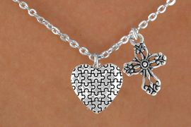 <bR>                EXCLUSIVELY OURS!!<Br>          AN ALLAN ROBIN DESIGN!!<BR>               LEAD & NICKEL FREE!!<BR>        W16017N - ELEGANT CROSS<Br>      & AUTISM AWARENESS HEART<Br>            NECKLACE &#169;2010 FROM<Br>                     $4.85 TO $8.50