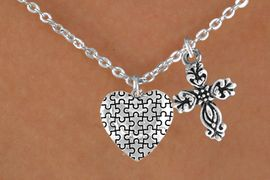 <bR>                EXCLUSIVELY OURS!!<Br>          AN ALLAN ROBIN DESIGN!!<BR>               LEAD & NICKEL FREE!!<BR>        W16019N - ELEGANT CROSS<Br>      & AUTISM AWARENESS HEART<Br>            NECKLACE &#169;2010 FROM<bR>                      $4.85 TO $8.50