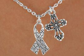<bR>                EXCLUSIVELY OURS!!<Br>          AN ALLAN ROBIN DESIGN!!<BR>               LEAD & NICKEL FREE!!<BR>       W16020N - ELEGANT CROSS<Br>    & AUTISM AWARENESS RIBBON<Br>            NECKLACE &#169;2010 FROM<br>                      $4.85 TO $8.50