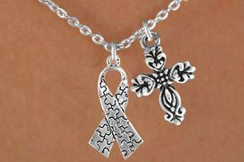 <bR>                EXCLUSIVELY OURS!!<Br>          AN ALLAN ROBIN DESIGN!!<BR>               LEAD & NICKEL FREE!!<BR>        W16022N - ELEGANT CROSS<Br>    & AUTISM AWARENESS RIBBON<Br>            NECKLACE &#169;2010 FROM<bR>                      $4.85 TO $8.50