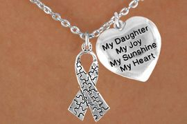 """<bR>                 EXCLUSIVELY OURS!!<Br>           AN ALLAN ROBIN DESIGN!!<BR>                LEAD & NICKEL FREE!!<BR>W16026N - """"MY DAUGHTER"""" HEART<Br>     & AUTISM AWARENESS RIBBON<Br>             NECKLACE &#169;2010 FROM<Br>                       $4.85 TO $8.50"""
