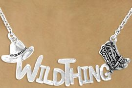 """<bR>                  EXCLUSIVELY OURS!!<Br>            AN ALLAN ROBIN DESIGN!!<Br>                LEAD & NICKEL FREE!!<Br>W16121N - WESTERN """"WILDTHING""""<Br>  MARQUEE STYLE NECKLACE  $9.68 Each  &#169;2010"""