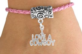"""<bR>               EXCLUSIVELY OURS!!<Br>         AN ALLAN ROBIN DESIGN!!<Br>              LEAD & NICKEL FREE!!<Br>   W16133B - """"I LOVE A COWBOY""""<Br>PINK BRAIDED TOGGLE BRACELET<Br>              FROM $3.94 TO $8.75"""