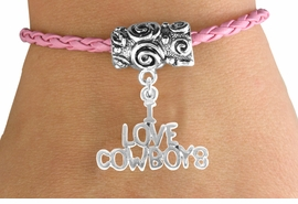 "<bR>               EXCLUSIVELY OURS!!<Br>         AN ALLAN ROBIN DESIGN!!<Br>              LEAD & NICKEL FREE!!<Br>   W16135B - ""I LOVE COWBOYS""<Br>PINK BRAIDED TOGGLE BRACELET<Br>              FROM $3.94 TO $8.75"