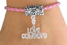 """<bR>               EXCLUSIVELY OURS!!<Br>         AN ALLAN ROBIN DESIGN!!<Br>              LEAD & NICKEL FREE!!<Br>   W16135B - """"I LOVE COWBOYS""""<Br>PINK BRAIDED TOGGLE BRACELET<Br>              FROM $3.94 TO $8.75"""