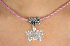 """<bR>         EXCLUSIVELY OURS!!<Br>  AN ALLAN ROBIN DESIGN!!<Br>        LEAD & NICKEL FREE!!<Br>W16137N - """"RODEO STAR"""" &<Br>    PINK BRAIDED NECKLACE<Br>       FROM $4.50 TO $10.00"""