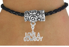 "<bR>                 EXCLUSIVELY OURS!!<Br>           AN ALLAN ROBIN DESIGN!!<Br>                LEAD & NICKEL FREE!!<Br> W16139B - ""I LOVE A COWBOY"" &<Br>BLACK BRAIDED TOGGLE BRACELET<Br>                FROM $3.94 TO $8.75"