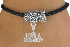 """<bR>                 EXCLUSIVELY OURS!!<Br>           AN ALLAN ROBIN DESIGN!!<Br>                LEAD & NICKEL FREE!!<Br> W16139B - """"I LOVE A COWBOY"""" &<Br>BLACK BRAIDED TOGGLE BRACELET<Br>                FROM $3.94 TO $8.75"""