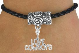 """<bR>                 EXCLUSIVELY OURS!!<Br>           AN ALLAN ROBIN DESIGN!!<Br>                LEAD & NICKEL FREE!!<Br>  W16141B - """"I LOVE COWBOYS"""" &<Br>BLACK BRAIDED TOGGLE BRACELET<Br>                FROM $3.94 TO $8.75"""