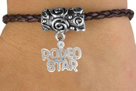 """<bR>                  EXCLUSIVELY OURS!!<Br>            AN ALLAN ROBIN DESIGN!!<Br>                 LEAD & NICKEL FREE!!<Br>W16146B - """"RODEO STAR"""" CHARM &<Br> BROWN BRAIDED TOGGLE BRACELET<Br>                 FROM $3.94 TO $8.75"""